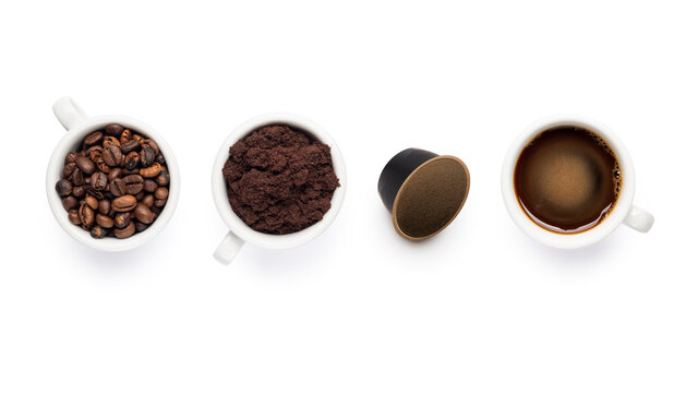 composition with cups of coffee beans, ground, black coffee and coffee pod.
