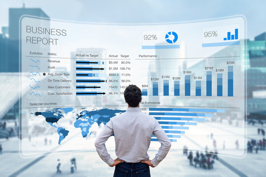 Business report with metrics, performance indicators and charts summarizing sales and profit data compared to targets and market trends. Business executive analyzing business analytics dashboard