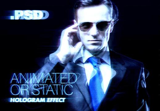 Glitchy Hologram Effect Mockup