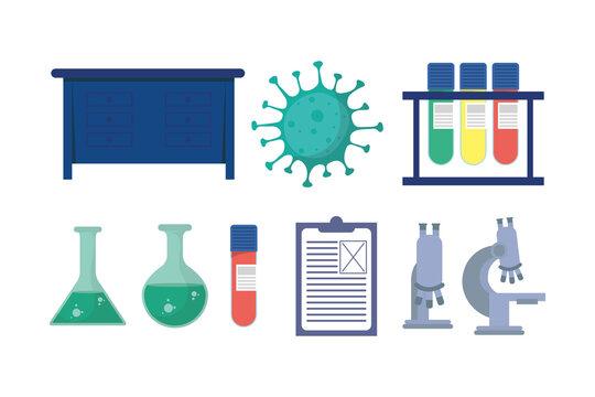 set of laboratory equipment vaccine research