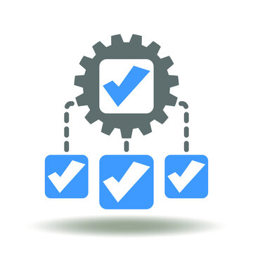 Scheme check mark gear icon vector. Flowchart network tick illustration. Governance Regulation Compliance Management Business Symbol.