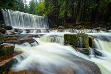 beautiful waterfall in Giant Mountain in Poland