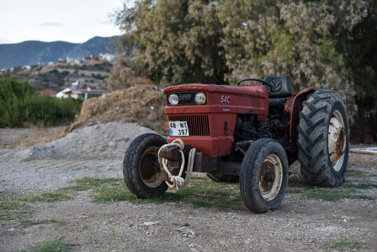 Datca / Turkey - 10.07.19: Tractor of brand Turk Fiat Junior 54C on farm