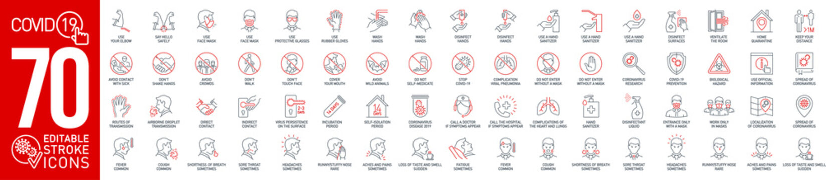 Prevention and symptoms Coronavirus Covid19 line icons set isolated on white. Perfect outline health medicine symbols pandemic banner. Vector design elements covid virus treatment with editable Stroke