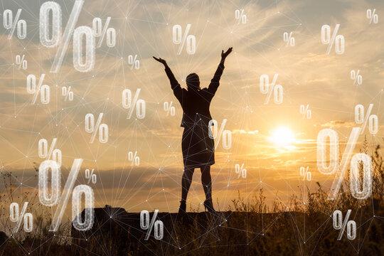 Percentage advantageous discount concept.