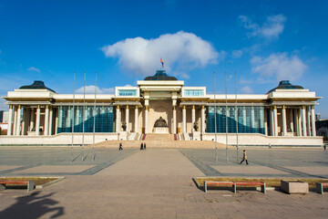 The Government Palace is located on the north side of Chinggis Square or Sukhbaatar Square in Ulaanbaatar, the capital city of Mongolia