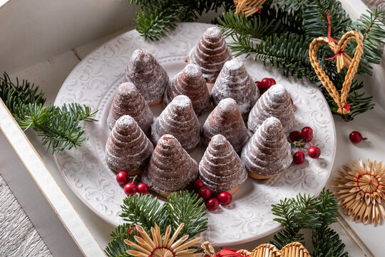 Beehives or wasp nests - traditional Czech Christmas cookies on a table