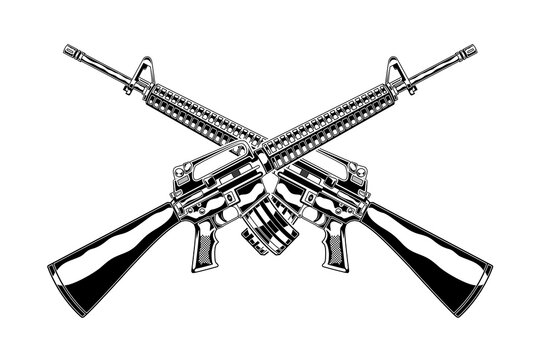 Monochrome detailed illustration of crossed m 16 assault rifle. Isolated vector template