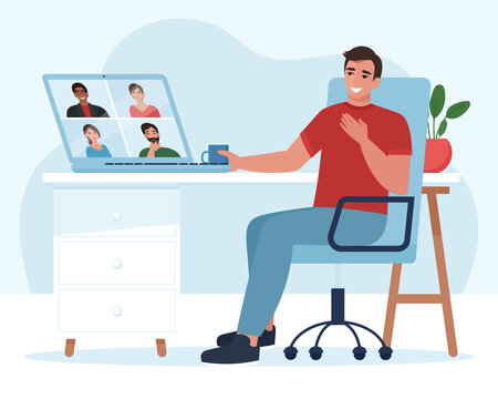 Meeting or Video conference with people group. Laptop screen. Man in video conference with colleagues. Home work concept. Friends talking on video. Vector illustration in flat style