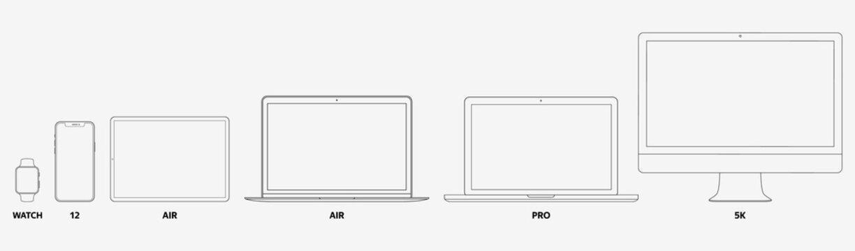 Apple Devices Set: Desktop, Laptop, Tablet, Smartphone, Watch. Thin LIne. Stock Vector 2020 EPS10