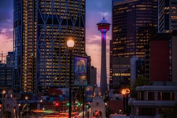 Downtown Calgary Illuminated At Dawn Fotomurales