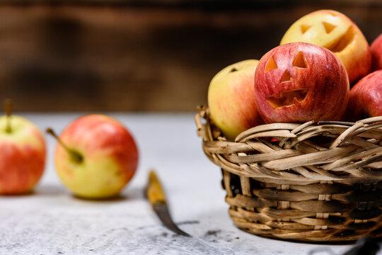 Apple face create for Halloween festival holiday. Autumn and fall harvest season.