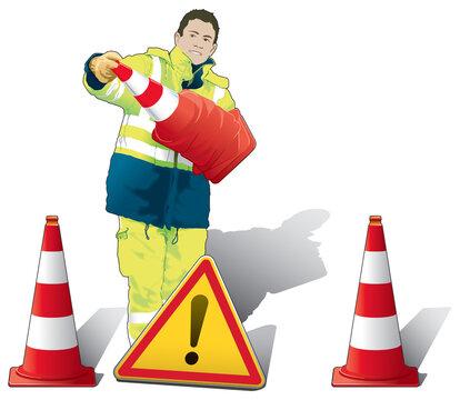 Sécurité sur autoroute - Agent installant des balises