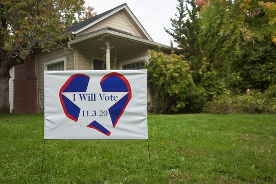 I Will Vote banner on the lawn outside a house in Lake Oswego, Oregon, as the Election Day nears.