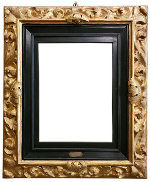 Rococo gold frame isolated on white