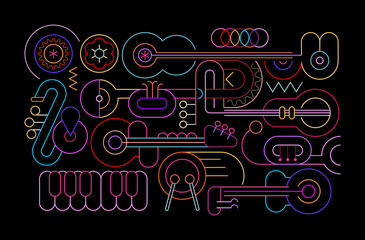 Neon colors isolated on a black background Music Instruments vector illustration. Colored line art silhouettes of guitars, trumpets, sax, saxophone, drum and piano.