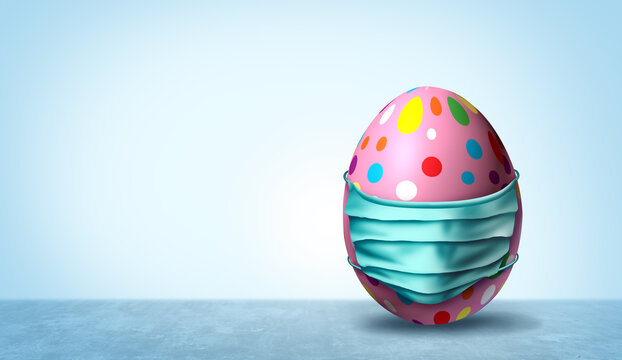 Health and Easter banner as a seasonal sign with a decorated egg wearing a medical face mask and surgical facial protection for disease protection