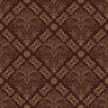 Orient vector classic pattern. Seamless abstract bbrown and golden ackground with vintage elements. Orient background. Ornament for wallpaper and packaging