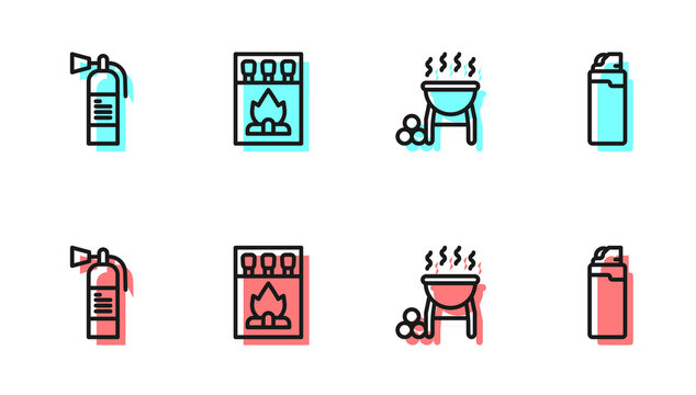 Set line Barbecue grill, Fire extinguisher, Matchbox and matches and Lighter icon. Vector.