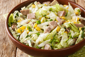 Fresh salad with beef tongue, cabbage and corn close-up in a bowl on the table. Horizontal