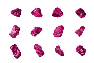Pink gem stones set white background isolated close up, raw gemstones collection, shiny rocks, rough natural nuggets, precious crystals, mineral samples, amethyst, sapphire, topaz, spinel, tourmaline