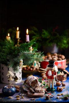 Christmas chocolate salami on a Christmas rustic background
