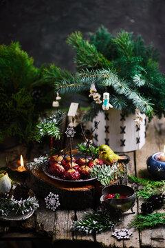 Cranberry Glazed Turkey Meatballs in a Christmas decor.