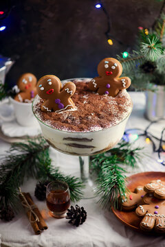EGGNOG GINGERBREAD TIRAMISU on a Christmas rustic background