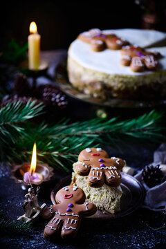 GINGERBREAD CHEESECAKE on a Christmas rustic background