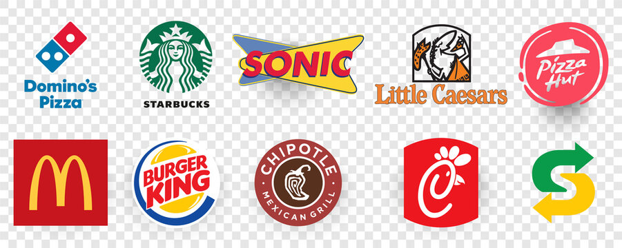 Top logos 10 QSR and Fast casual restaurant apps by Downloads Chick-fil-a, mcdonalds, starbucks, domino's pizza, subway, burger king. Logo Editorial vector illustration.