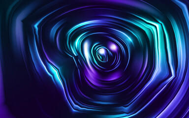 Neoned blue, navy, purple. Colorful holographic swirl, vortex prism. Speed laser motion. Pattern for background, wallpaper, advertising. Retro vaporwave style, distorted fractal fine art.