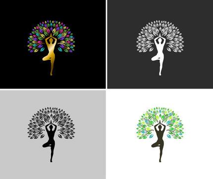Yoga tree logo design template, vector isolated.