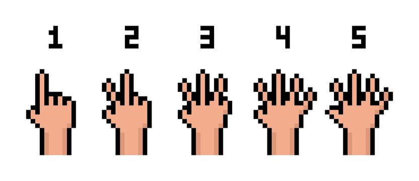 Pixel art 8-bit hand count from 0 to 5 set icons - isolated vector illustration