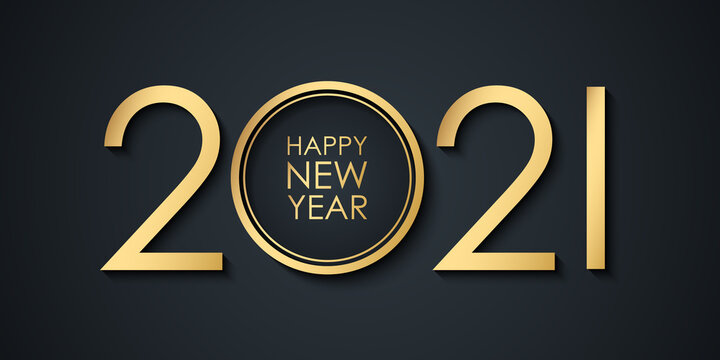 2021 New Year celebrate banner with 2021 numbers creative design and Happy New Year holiday greetings. Vector illustration.