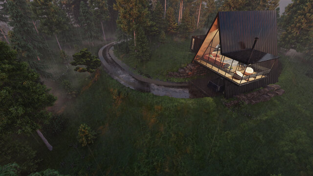 High Angle View of an Illuminated A Frame House on a Rainy Day 3D Rendering