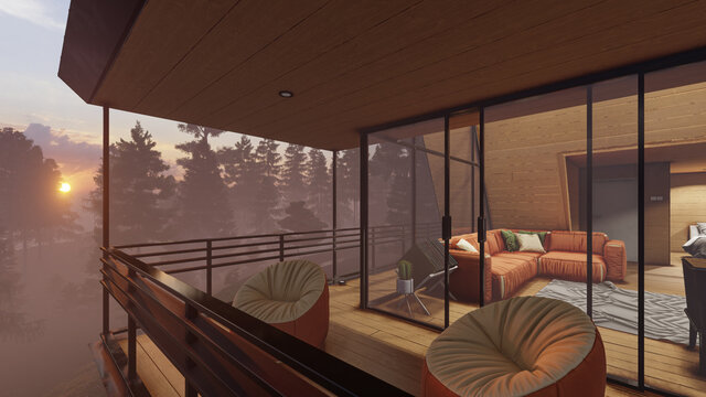 Part of Balcony with a Sunrise View Behind the Trees in the Early Morning 3D Rendering