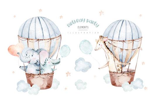 Cute cartoon air balloons birthday party baby elephant , crocodile nand giraffe illustrations. hand drawn baby shower air balloon. kids nursery wear fashion design, birthday invitation card.