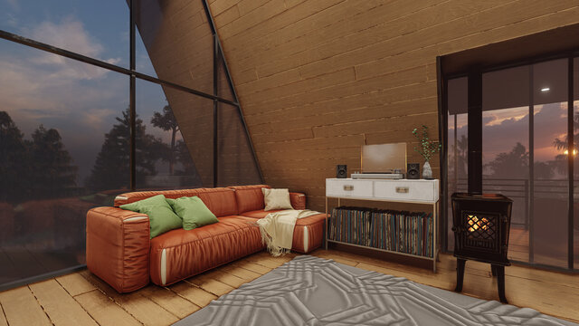 Illuminated Living Room Inside an A Frame House with a Sunset View Behind the Trees 3D Rendering