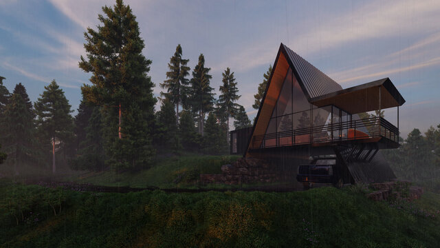 Domestic House with an A Frame Design on a Rainy Morning 3D Rendering