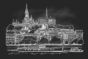 Wall Mural - vector sketch of Budapest cityscape with Buda castle and Danube river