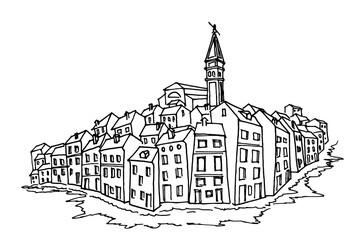 Wall Mural - Vector sketch of architecture of Rovinj, Croatia.
