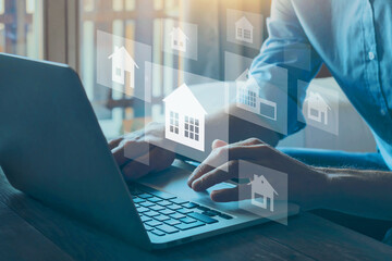 Obraz real estate concept, choose house to buy, different offers of property online on virtual screen - fototapety do salonu