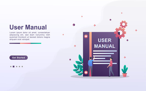 Landing page template of user manual in gradient effect style