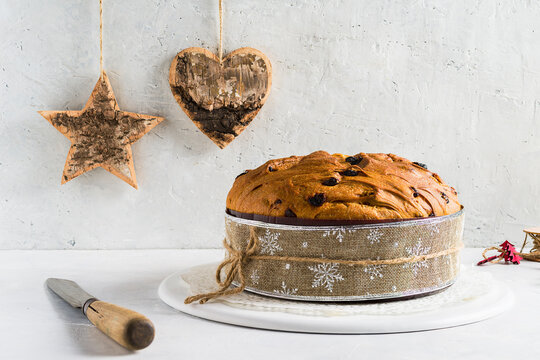 Panettone, typical Christmas italian cake. Front view.