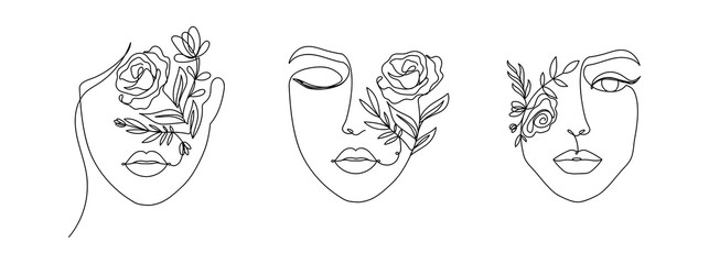Women's faces in one line art style with flowers and leaves.Continuous line art in elegant style for prints, tattoos, posters, textile, cards etc. Beautiful women face Vector illustration