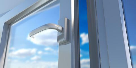 Fototapeta PVC aluminum metal frame with two glasses closeup. 3D illustration obraz