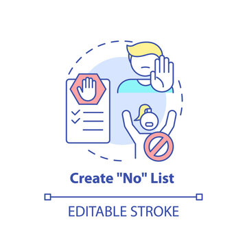 Create no list concept icon. Self care checklist. Healthy restriction for life. Everyday limitations idea thin line illustration. Vector isolated outline RGB color drawing. Editable stroke