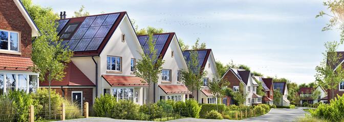Obraz Beautiful modern residential houses with solar panels - fototapety do salonu