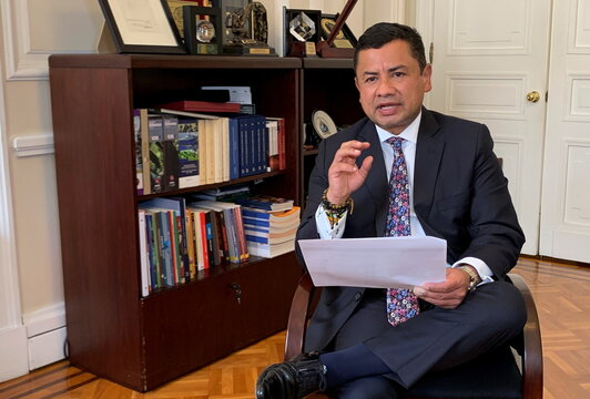 Rafael Guarin, Colombia's Presidential Advisor for National Security, speaks during an interview with Reuters in Bogota
