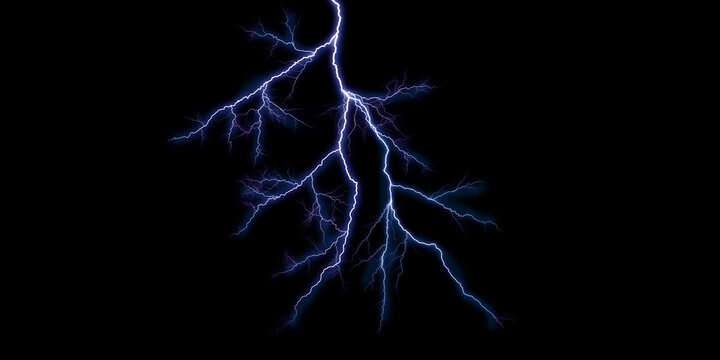 Glowing Thunder Stock Image In Black Background